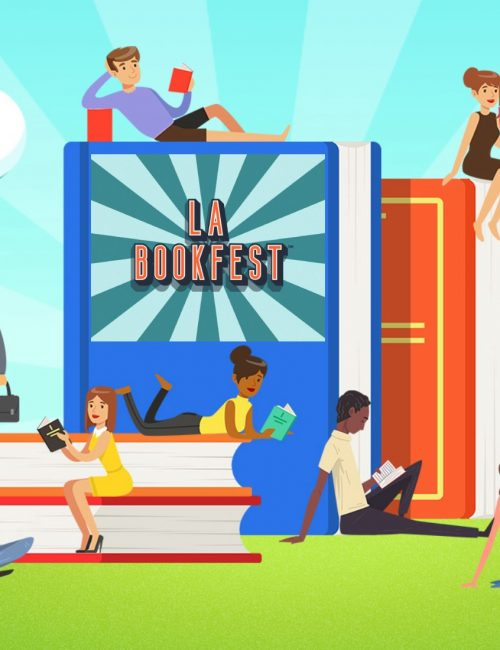 image of people reading books and the LA BookFest logo