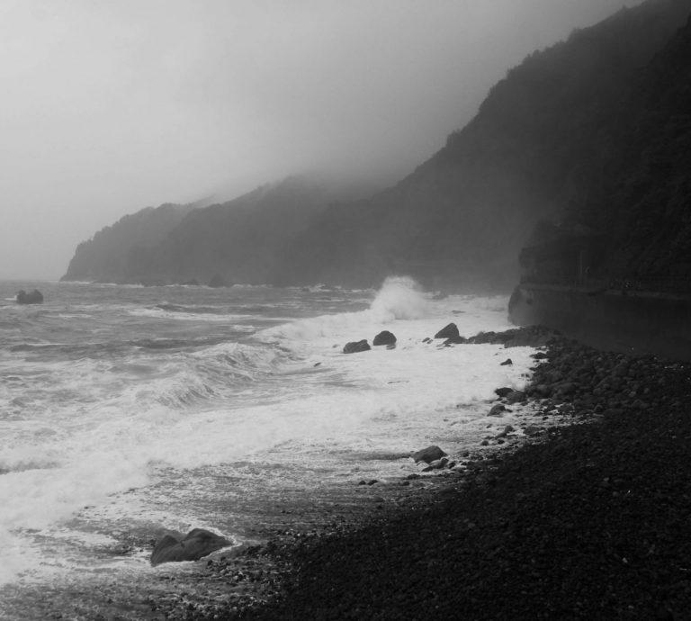 Black & White Stormy Beach